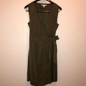 Banana Republic Army Green Wrap Dress